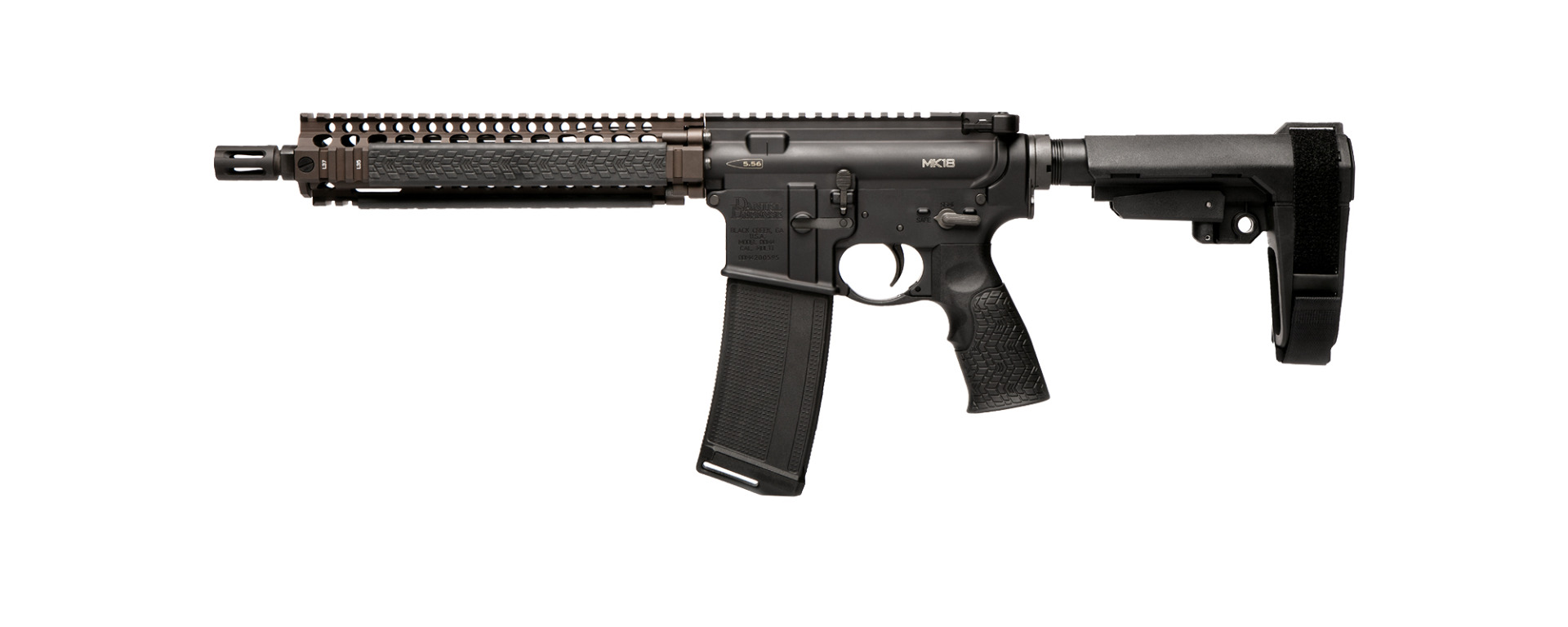 Daniel Defense MK18 Pistol Flat Dark Earth - Left