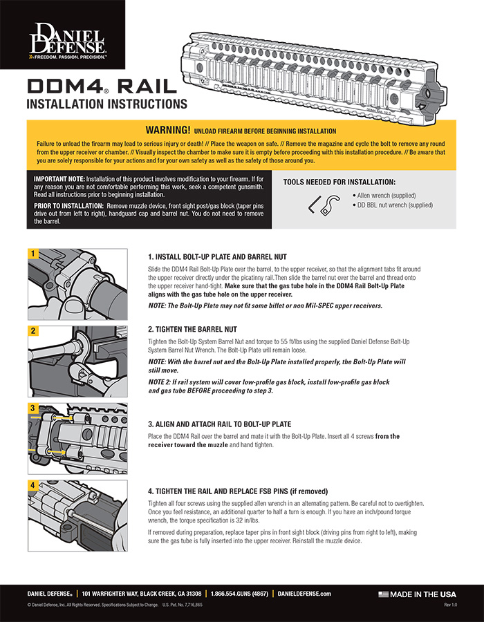 DDM4 Rail Installation Instructions