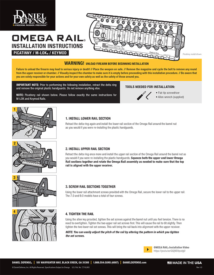 Omega Rail Installation Instructions